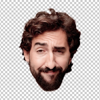 Young crazy bearded man cutout head expression isolated.