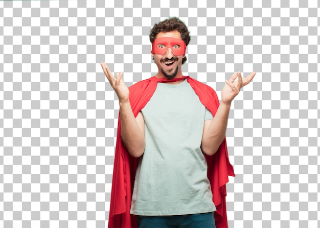 Young crazy super hero man amazed or shocked expression