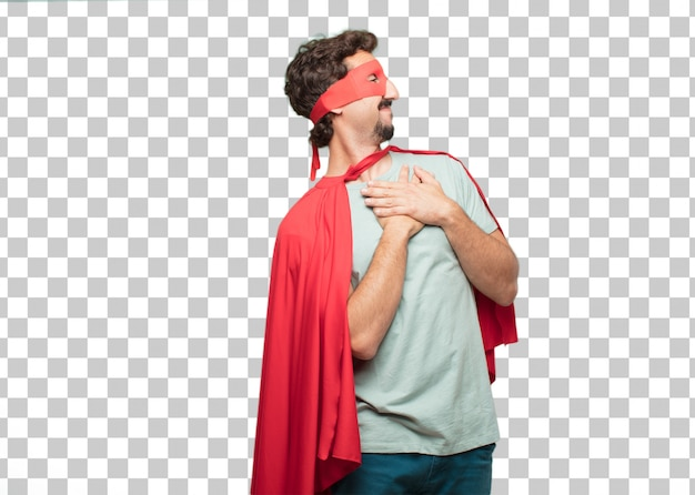 Young crazy super hero man . in love concept