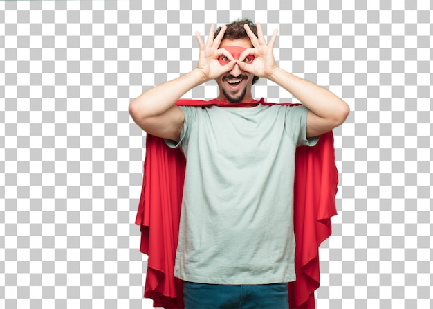 Young crazy super hero man peephole sign