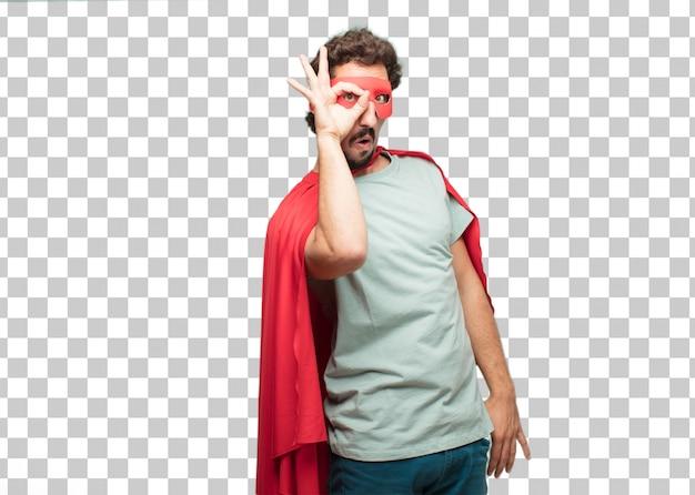 Молодой сумасшедший супер герой человек глазок знак