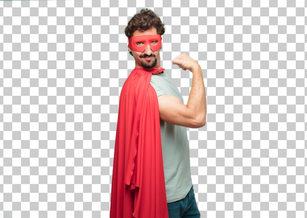 Young crazy super hero man strong sign