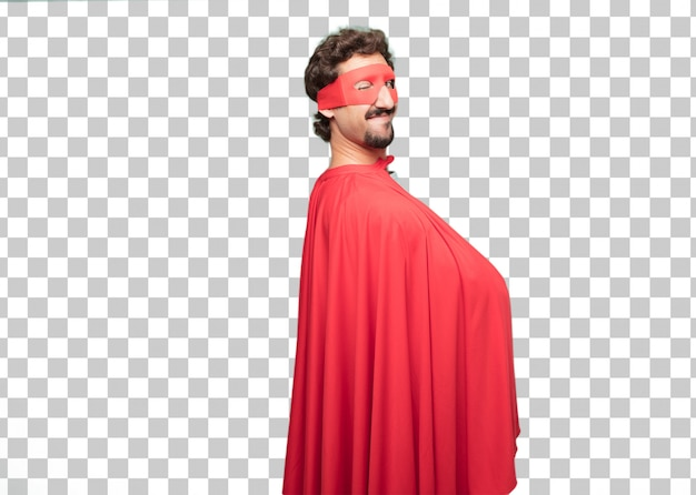 Young crazy super hero man wink eye concept