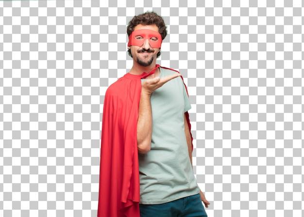 Young crazy super hero man