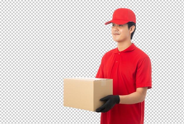 紙の段ボール箱のモックアップを保持している若い配達人