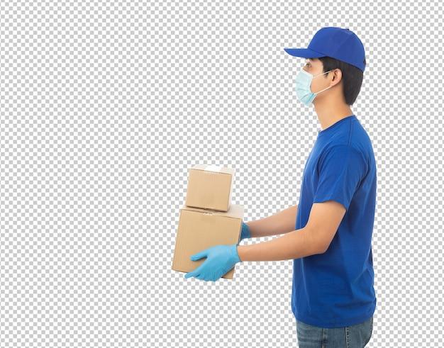 종이 골 판지 상자 이랑을 들고 젊은 배달 남자