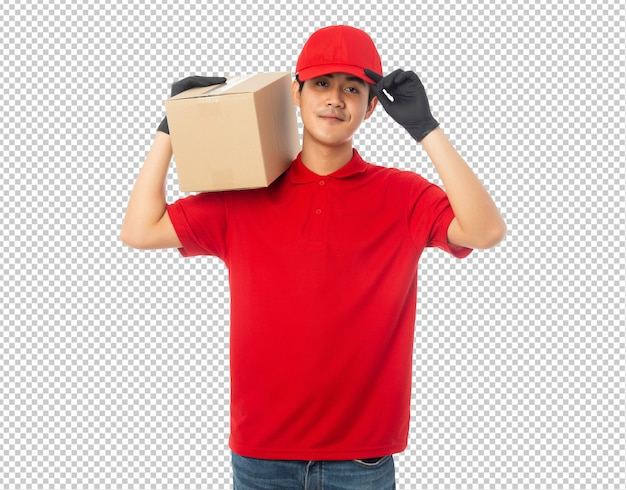 Young delivery man holding paper cardboard box