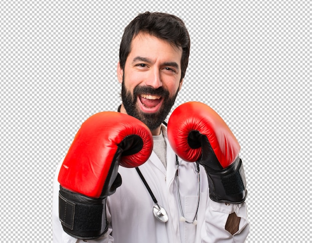 Young doctor with boxing gloves