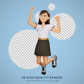 Молодая девушка люди счастливы прыгать 3d иллюстрации персонажей