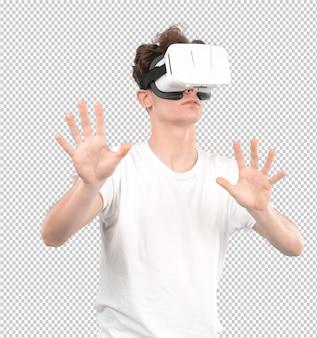 Молодой парень, используя виртуальные очки