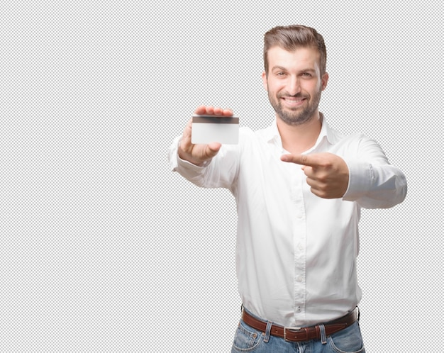 Young handsome man pointing at credit card
