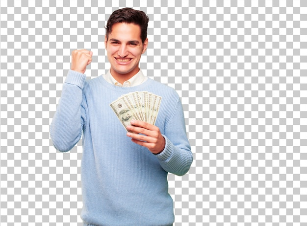 Young handsome tanned man pay, buying or money concept