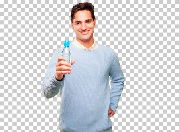 Young handsome tanned man water bottle