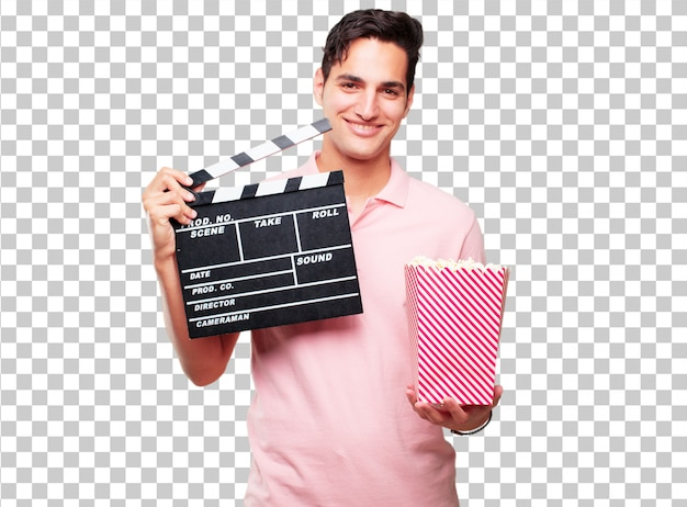 Young handsome tanned man with a cinema clapper