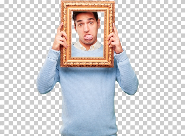 Young handsome tanned man with a frame