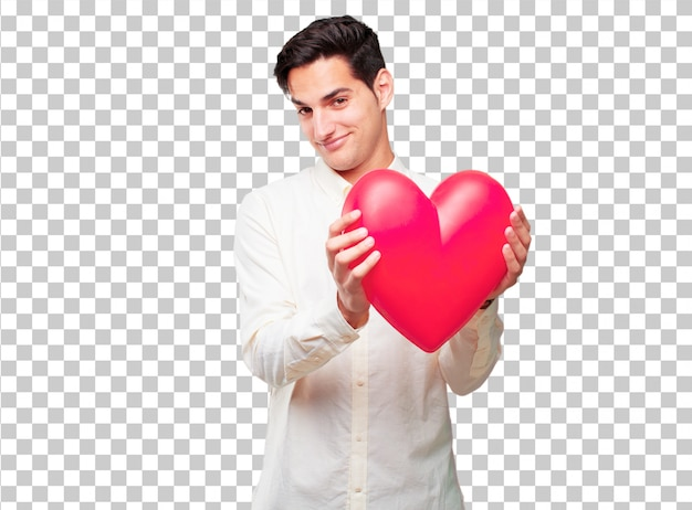 Young handsome tanned man  with a heart shape. love concept