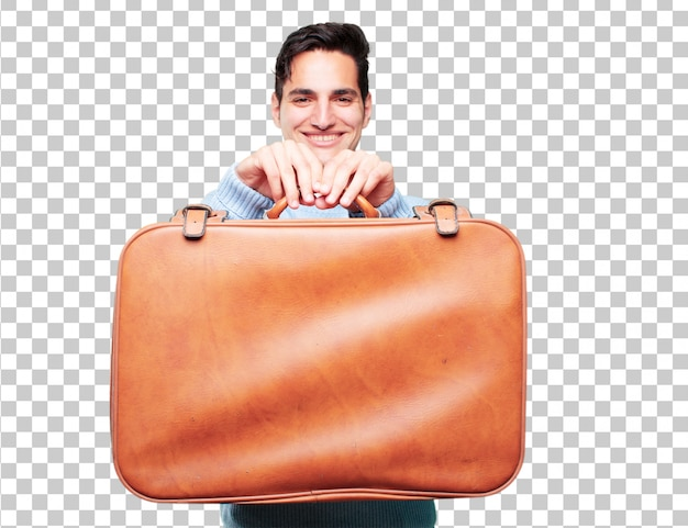 Young handsome tanned man with a leather case luggage