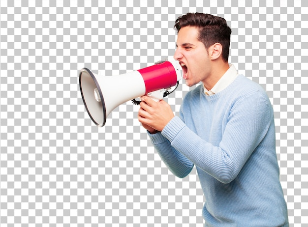 Young handsome tanned man with a megaphone