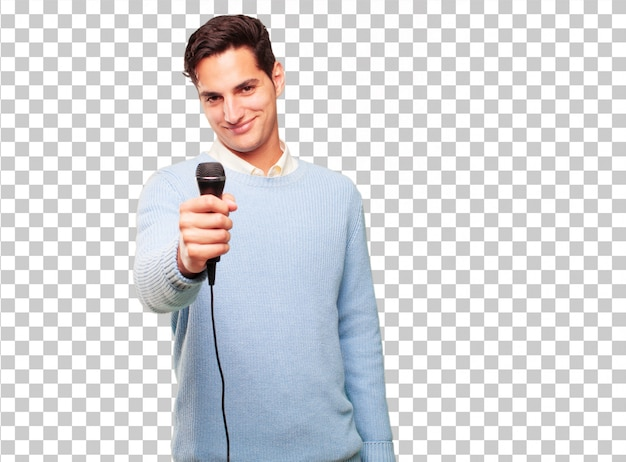 Young handsome tanned man with a microphone