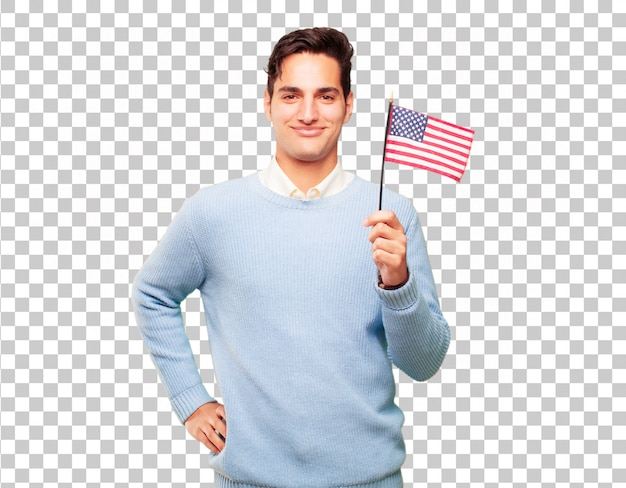 Young handsome tanned man with an usa flag