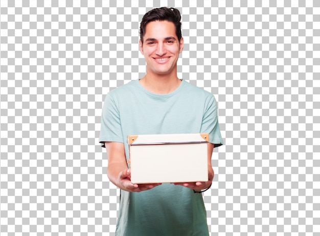 Young handsome tanned man with a vintage box