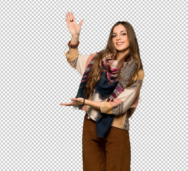 Young hippie woman holding copyspace to insert an ad