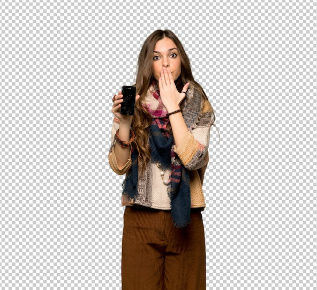 Young hippie woman with troubled holding broken smartphone
