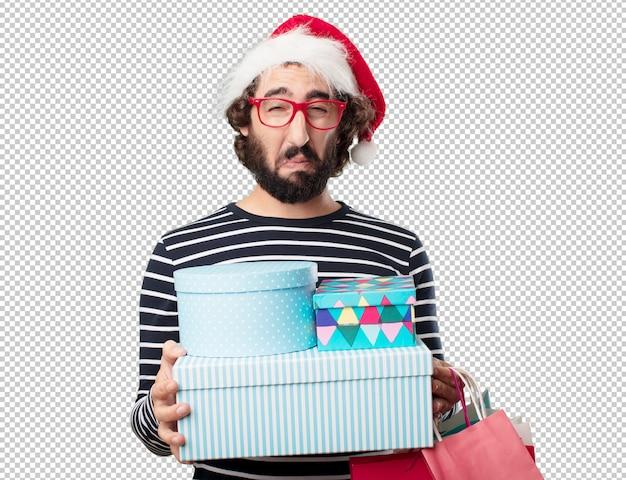 若い男のクリスマスの概念