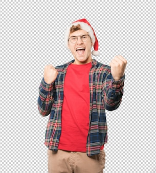 Young man at christmas doing gestures
