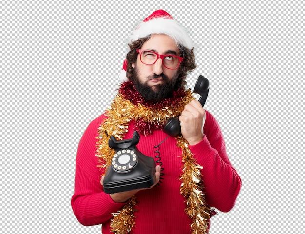 若い男のクリスマス休暇。感情や概念を表現する