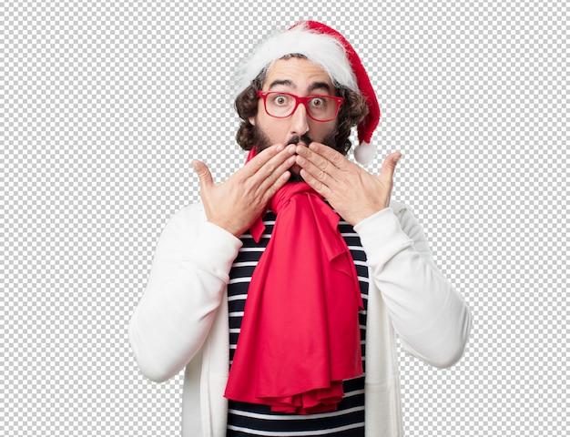 Молодой человек рождественские каникулы. выражать эмоции и понятия