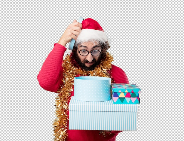 Young man christmas holidays. expressing emotions and concepts