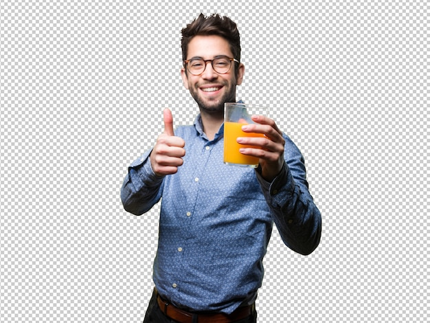 Young man doing okay gesture and holding a juice