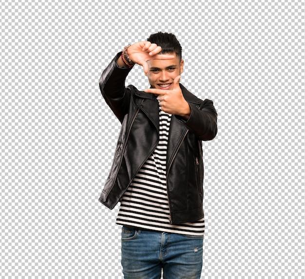 Young man focusing face. framing symbol
