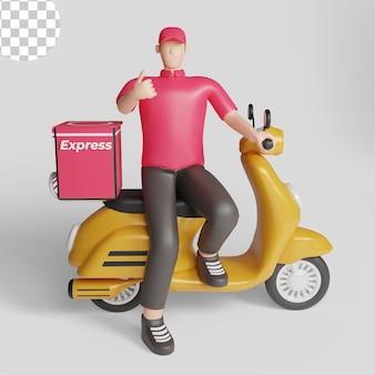 Молодой человек на скутере, доставляя пакет