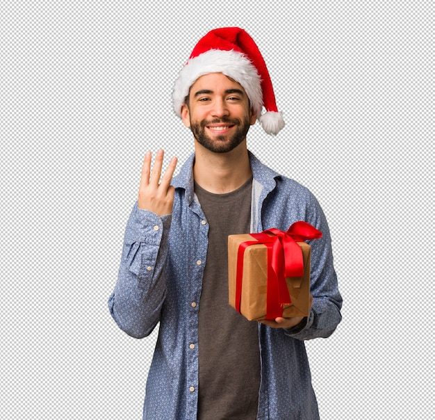 若い、男の子、身に着けていること、サンタ