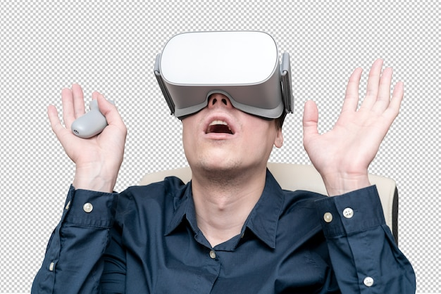 Young man wearing virtual reality glasses. innovation and technological advances. modern technologies for business.