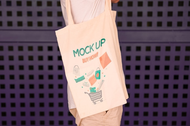 Young man with bag mockup