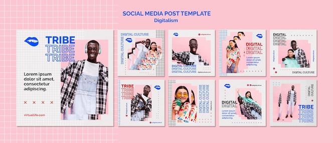 Post dei social media della cultura digitale del giovane e della donna