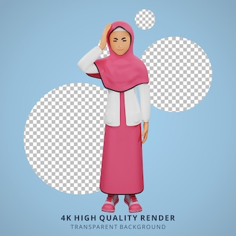 若いイスラム教徒の少女めまい3dキャラクターイラスト