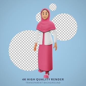 3dキャラクターイラストを歩く若いイスラム教徒の少女