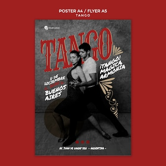 Young people tango dancing flyer print template