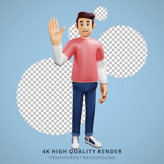Молодые люди машут руками 3d персонаж иллюстрации