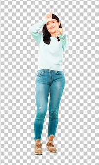 Young pretty girl full body gesturing