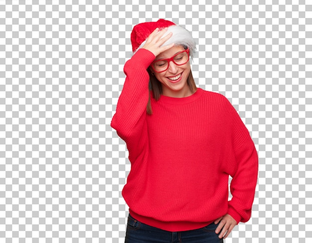 Young pretty woman christmas concept. editable background