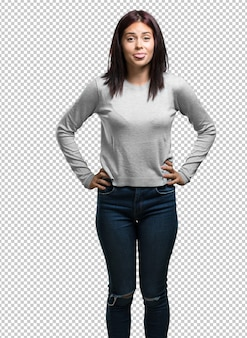 Young pretty woman expression of confidence and emotion, fun and friendly