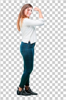 Young pretty woman full body strong sign