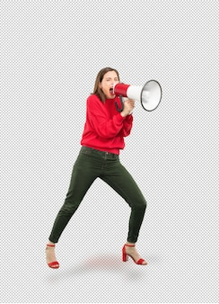 Young pretty woman shouting with megaphone