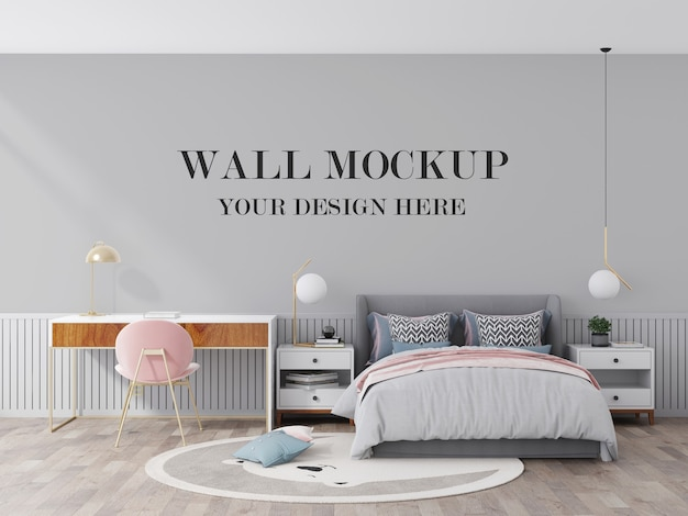 Young room wall mockup 3d visualization