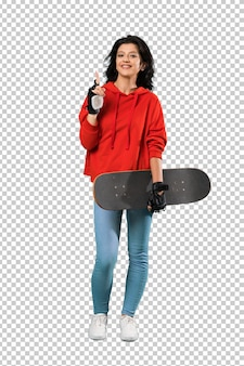 Young skater woman pointing up a great idea